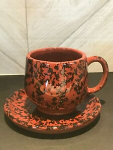 Vintage-Stoneware-Tennessee-Clayworks-Espresso-Demitasse-Cups-amp-Saucers-A-67