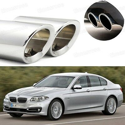 2 Silver Car Exhaust Muffler Tip Tail Pipe Trim for BMW 5-Series 2008-2016 #1074