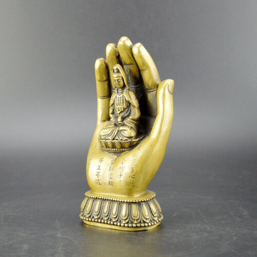 Chinese old collection handwork brass lotus flower Guanyin Buddha statue