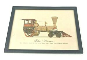 Vintage-Evelyn-Curro-Hand-Color-Print-Locomotive-Engine-039-The-Pioneer-039-Framed