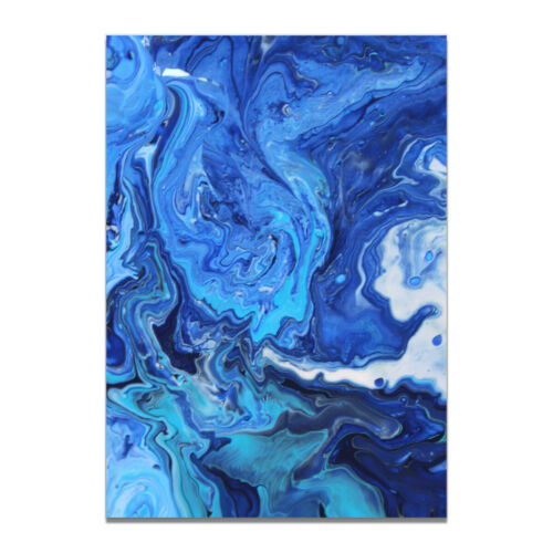 Marble Effect Design Blue Gold Abstract Canvas Modern Art Poster Wall Home Decor