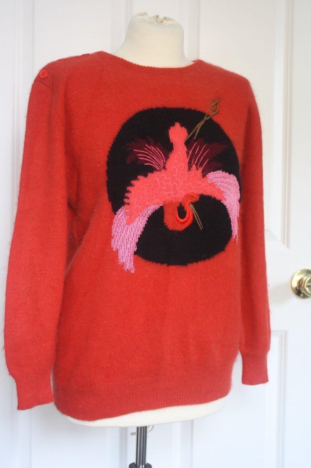 Vtg MONDI Fuzzy Angora Lambswool Embroidered Bird Sweater Magenta Pink 38 M