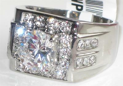 ZTK348PB  MENS MANS 4.70CT SOLITAIRE  SIMULATED DIAMOND RING STEEL NOT TARNISH