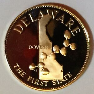 Image Is Loading C3664 Franklin Mint Bronze Medal State Of Delaware