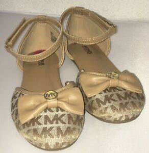 NEW-michael-kors-Sandals-Shoes-Size4-BROWN-GOLD