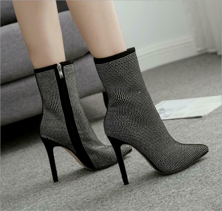 Womens Big Size US10 Pointed Toe Rhinestone High-heeled Zipper Boots shoes Jd_uk