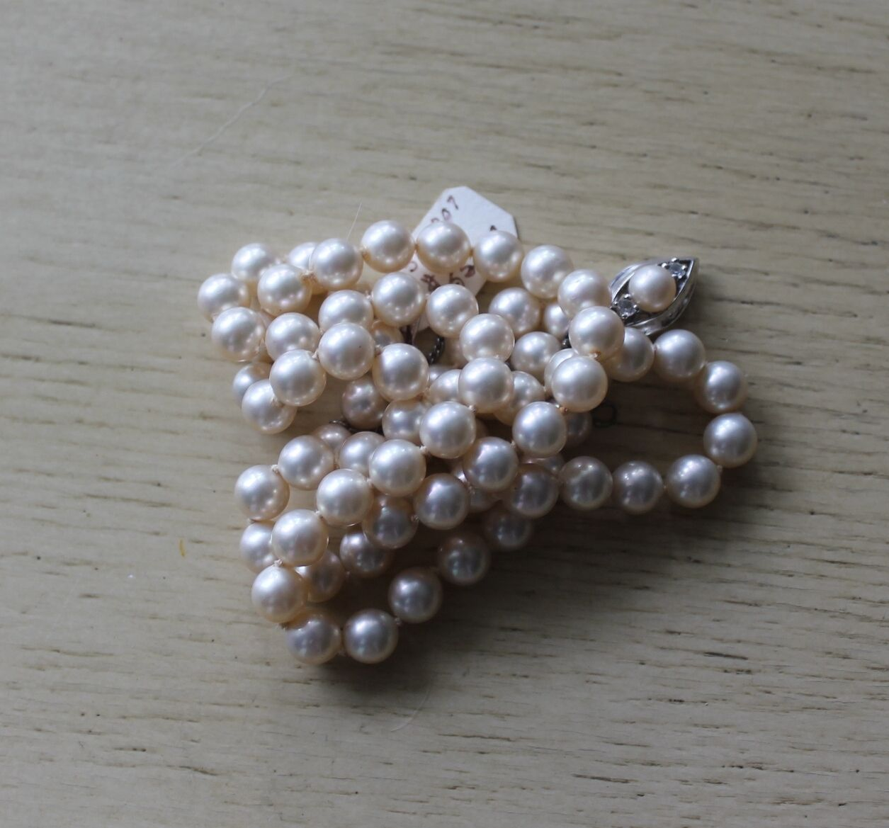 Vintage Synthetic Pearl Bead Necklace Sterling Si… - image 5