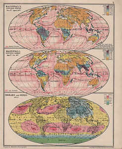 Sonstige 1928 Karte Diagramm ~ Rainfallnorthern Winter & Sommer ~ Isobars & Winds