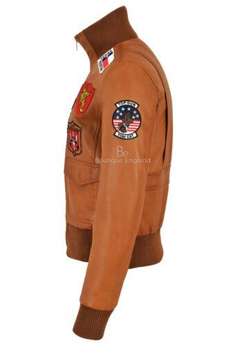 Fighter donna Air Jacket Top da Navy pelle in Force Gun Pilot Bomber Jet Tan nq81qXZxw