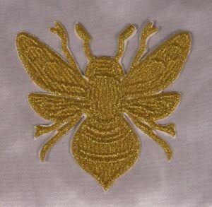 Embroidered-Metallic-Gold-Swirl-Golden-Honeybee-Boho-Chic-Bee-Patch-Iron-On-USA