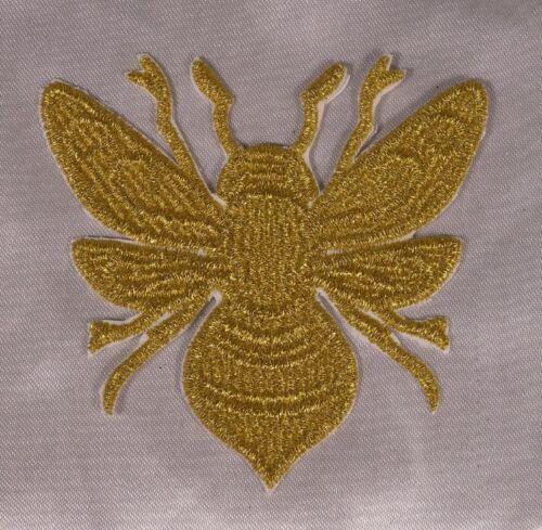Embroidered Metallic Gold Swirl Golden Honeybee Boho Chic Bee Patch Iron On USA