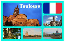 TOULOUSE, FRANCE - SOUVENIR NOVELTY FRIDGE MAGNET - FLAGS / SIGHTS - GIFT / NEW