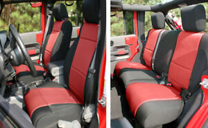 Image Is Loading Front Amp Rear Black Red Neoprene Seat Covers