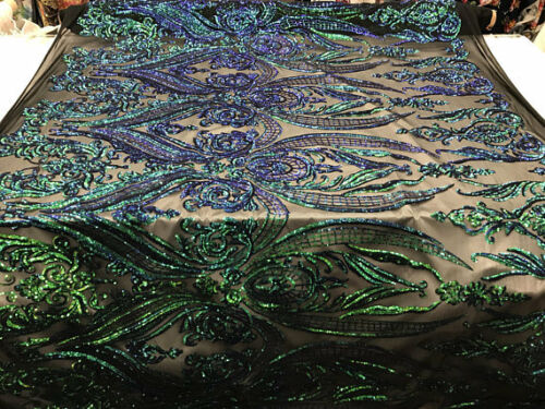 Sequins Fabric Power Mesh By The Yard 4 Way Stretch Embroidery Sequins Jade
