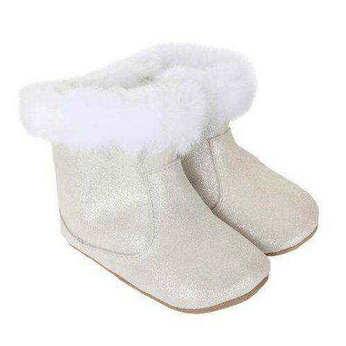 NIB Robeez Mini Shoez Thea Twinkle Bootie White Silver Shimmer 18-24m 6.5 7 8
