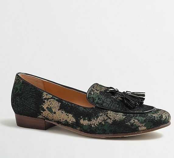 NEW J.Crew Shimmer Multi Shimmer Stacked-heel Loafers Flats Size 7.5