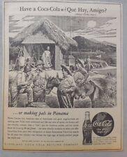 """Coca-Cola ad: Fantastic Frank Godwin Artwork! 1940's  9 x 12 inches """"Panama"""""""