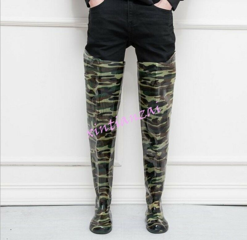 Mens sneakers rubber rain boots thigh boots work Thigh Fishman shoes camouflage