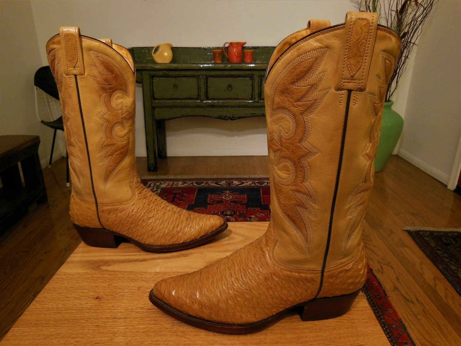 Vtg patrini 2 Color dorado, cuero marrón, botas vaqueros del oeste 8 e xlnt ¡Vtg patrini 2 Color dorado, cuero marrón, botas vaqueros del oeste 8 e xlnt