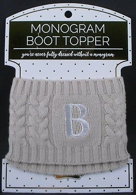 Initial S NEW MUDPIE Women's Chelsea Monogramed Cable Knit Boot Toppers
