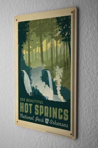 Tin Sign Globetrotter National Park Hot Springs Metal Plate