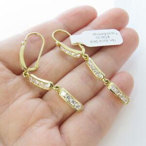 NYJEWEL-Brand-New-18k-Solid-Gold-Fabulous-Topaz-Dangle-Lever-Backer-Earring