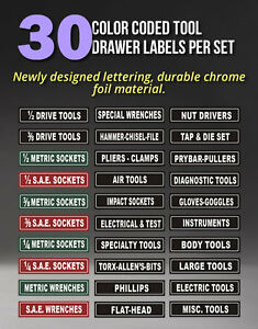 Tool Chest Organizer Labels Magnetic Fits All Steel Tool