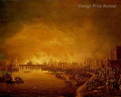 City Burning Boats River People Flee  8x10 Print 1097 The Great Fire of London