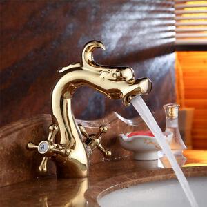 2-Cross-Handles-Dragon-shape-Gold-Bathroom-Basin-Sink-Faucet-Mixer-Brass-Taps