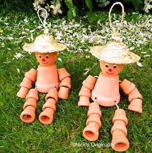 Image is loading Beautiful-Pair-Of-Small-Flower-Pot-Men-Garden- & Beautiful Pair Of Small Flower Pot Men Garden Ornaments Figurines ...