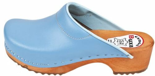 Wooden  leather clogs Blue color F3     Women