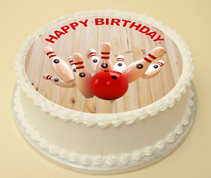 Remarkable Ten Pin Bowling Happy Birthday Cake Cupcake Topper Decoration Personalised Birthday Cards Veneteletsinfo