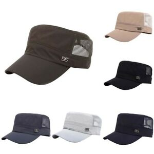 Men Military Army Hat Summer Baseball Mesh Flat Top Cap Adjustable ... 365b50b23d8