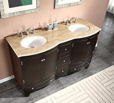 "60"" Travertine Top Double White Sink Bathroom Vanity Espresso Cabinet 703T"
