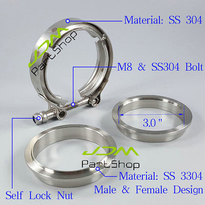 Exhaust Downpipe 3.0'' 3.0 Inch v Band SS Clamp SS Flange SS M8 bolt Nylon Nut