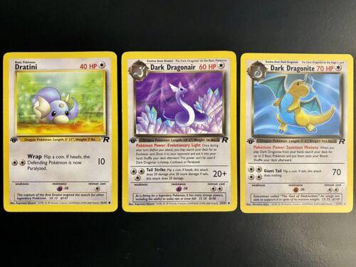 Pokémon 1st Edition Dark Dragonite Dragonair Dratini Team Rocket Set WOTC 22/82