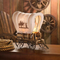 Wood Covered Wagon Model Statue Cowboy Country Western Horse Lamp Night Light