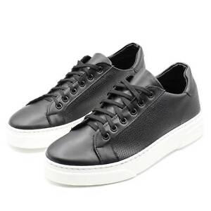 Sneakers-Uomo-in-Pelle-Basse-Nere-Scarpe-da-Ginnastica-Sportive-Eleganti-Casual