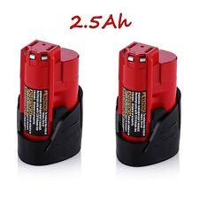 2x For Milwaukee 48-11-2401 M12 Li-Ion Red Lithium 12V 2500mAh Battery Pack EW