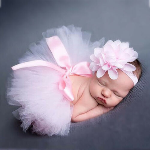 Baby Girl Tutu Dress with Flower Headband Clothing Costume Photography Props O