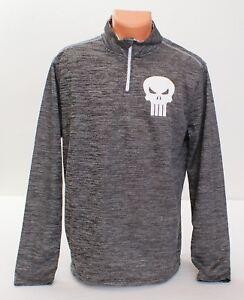 dfcc04ad Marvel The Punisher Heather Gray 1/4 Zip Long Sleeve Shirt Men's ...