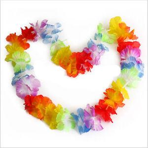 12PCS-96cm-Hawaiian-Beach-Necklace-Leis-Lei-Flower-Decorations-Crafts-Luau-Party