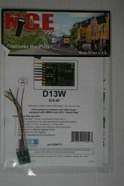 NCE #171 D13W HO DCC Decoder for HO engines NEW
