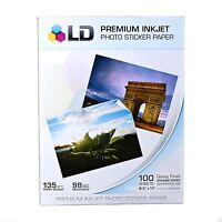 75 Sheets Sticker Paper Ld White Glossy Inkjet Laser Printer Christmas Photo Lot