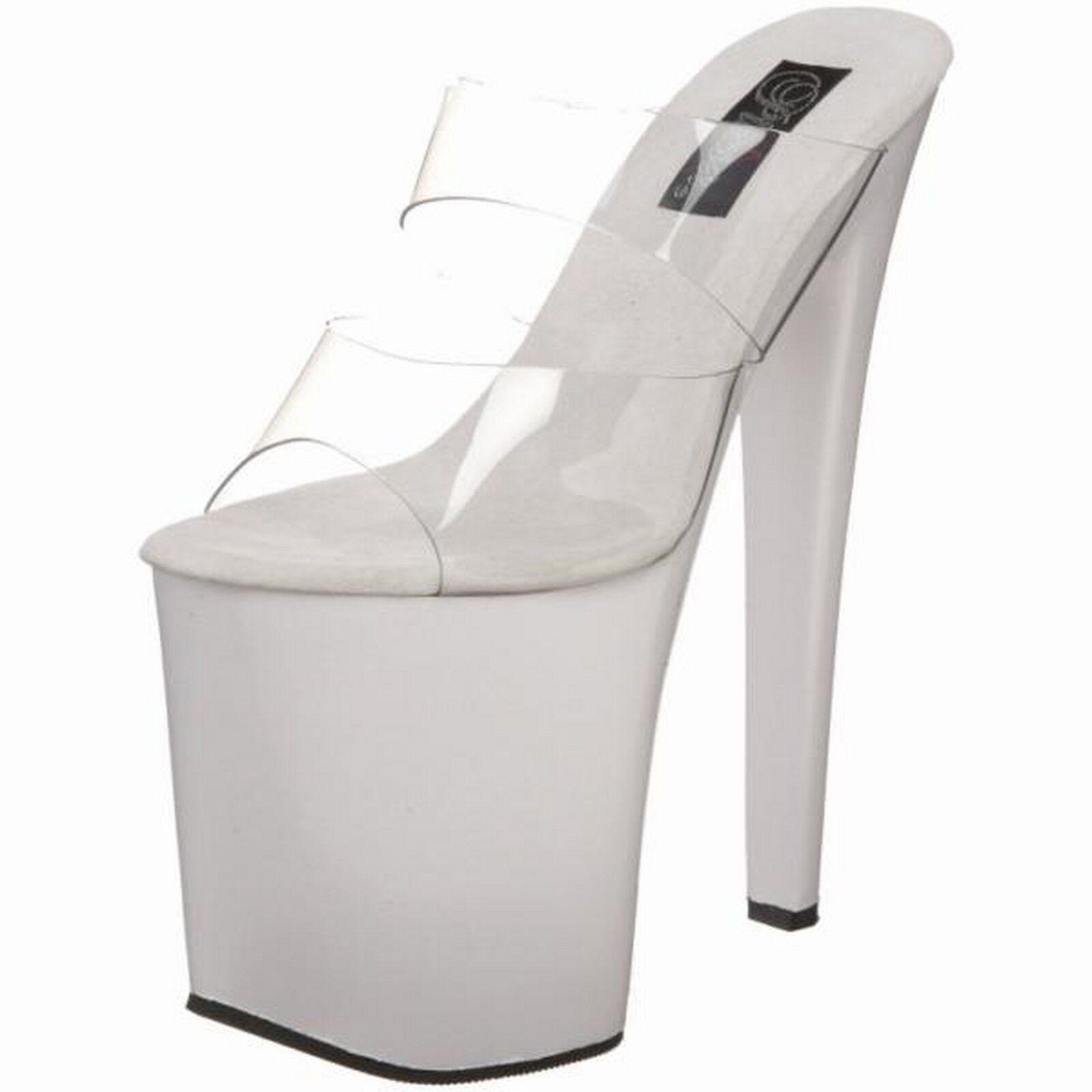 PLEASER Platform Shoes High Heels Clear Upper Stripper Sandal XTREME-802 bianca