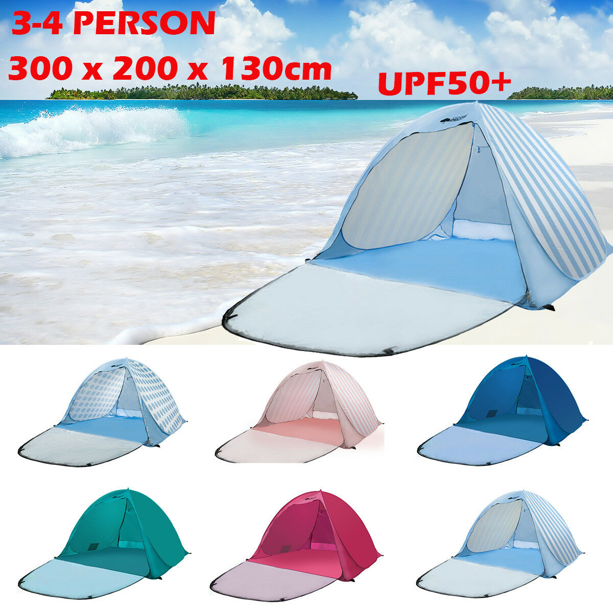 Pop  Up 3-4 Person Beach Tent Portable UV Shelter Outdoor Camping Hiking UPF50+  presenting all the latest high street fashion