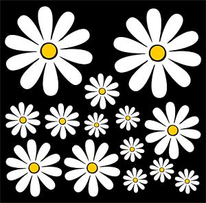Daisies-set-of-14-Car-Camper-Bumper-Stickers-Decals