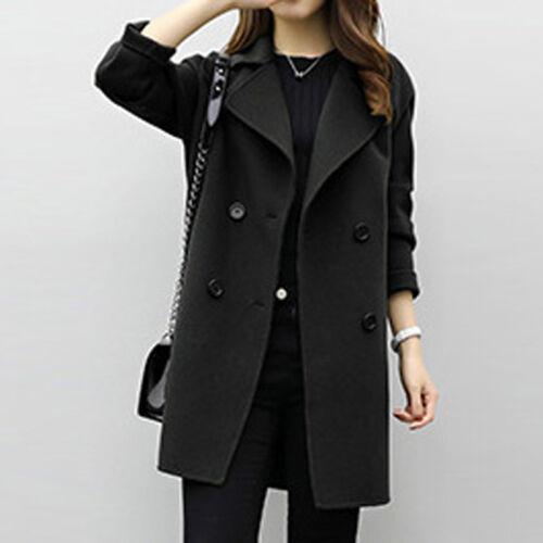Women Winter Long Lapel Jacket Warm Trench Woolen Parka Long Slim Coat Outwear