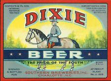 DIXIE BEER LABEL T SHIRT Southern Brew Charlotte NC SMALL THRU XXXLARGE