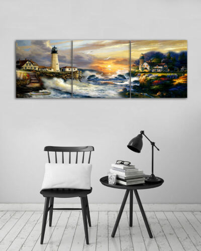 Fairy Lake and Lighthouse 3 Piece Canvas Wall Art Picture Painting Home Decor